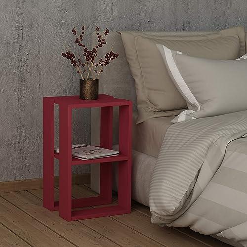 Ada Home D cor Nellie Nightstand 21.65'' x 12.13'' x 11.81'' Burgundy - a good cheap modern nightstand