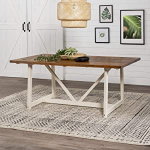 Walker Edison 4 Person Modern Farmhouse Wood Small Room Kitchen Table Set Dining Chairs, 72 Inch, Rustic Oak/White Wash