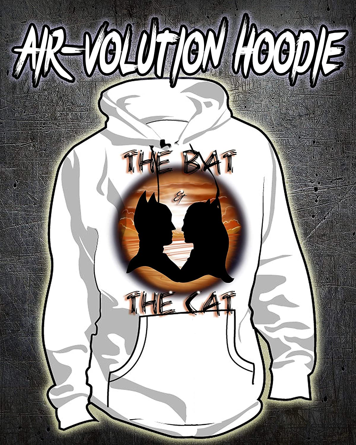 Personalized Airbrush Bat man and Cat woman Silhouette Hoodie