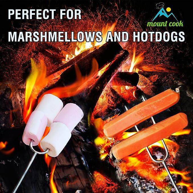 Pinchos Para Brochetas y Malvaviscos Palillo Asador + Silicone Cooking Brush- 8 Palillos Para