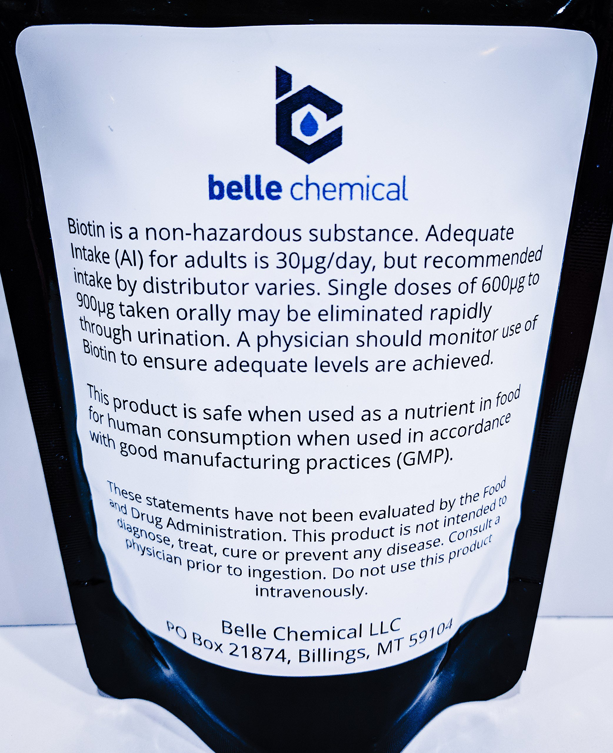 Biotin (Vitamin B7) Pure Powder 4oz (113g) Hair, Nails, Metabolism, Cell Growth by Belle Chemical
