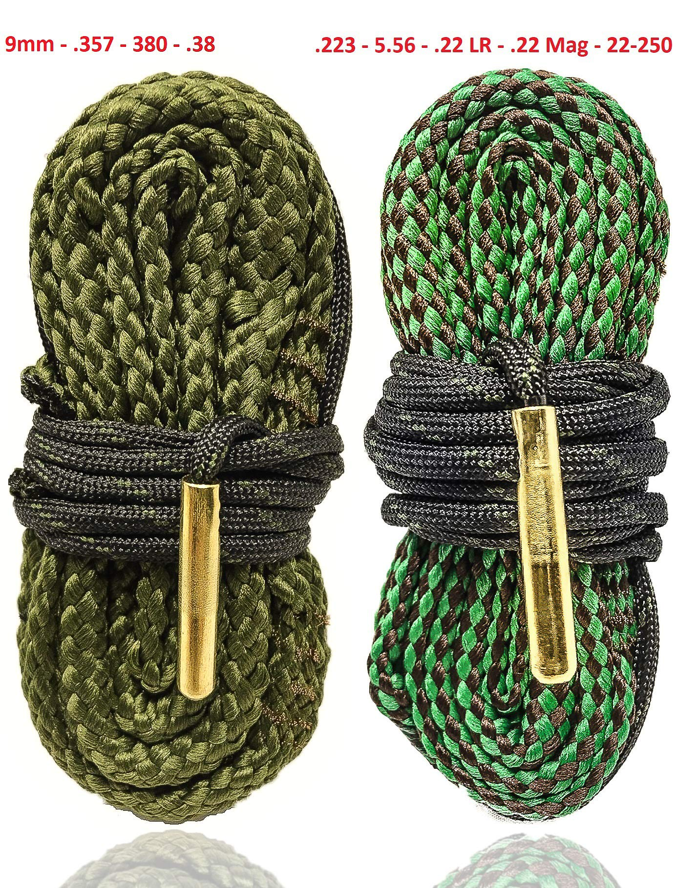 Big Country Wholesale Rifle and Pistol Cleaning Combo Pack Bore Snakes for AR15 and 9MM Guns - Also Fits .223 5.56 .38 .357 Caliber Weapons - from Cobra Bore Snakes by Big Country Wholesale