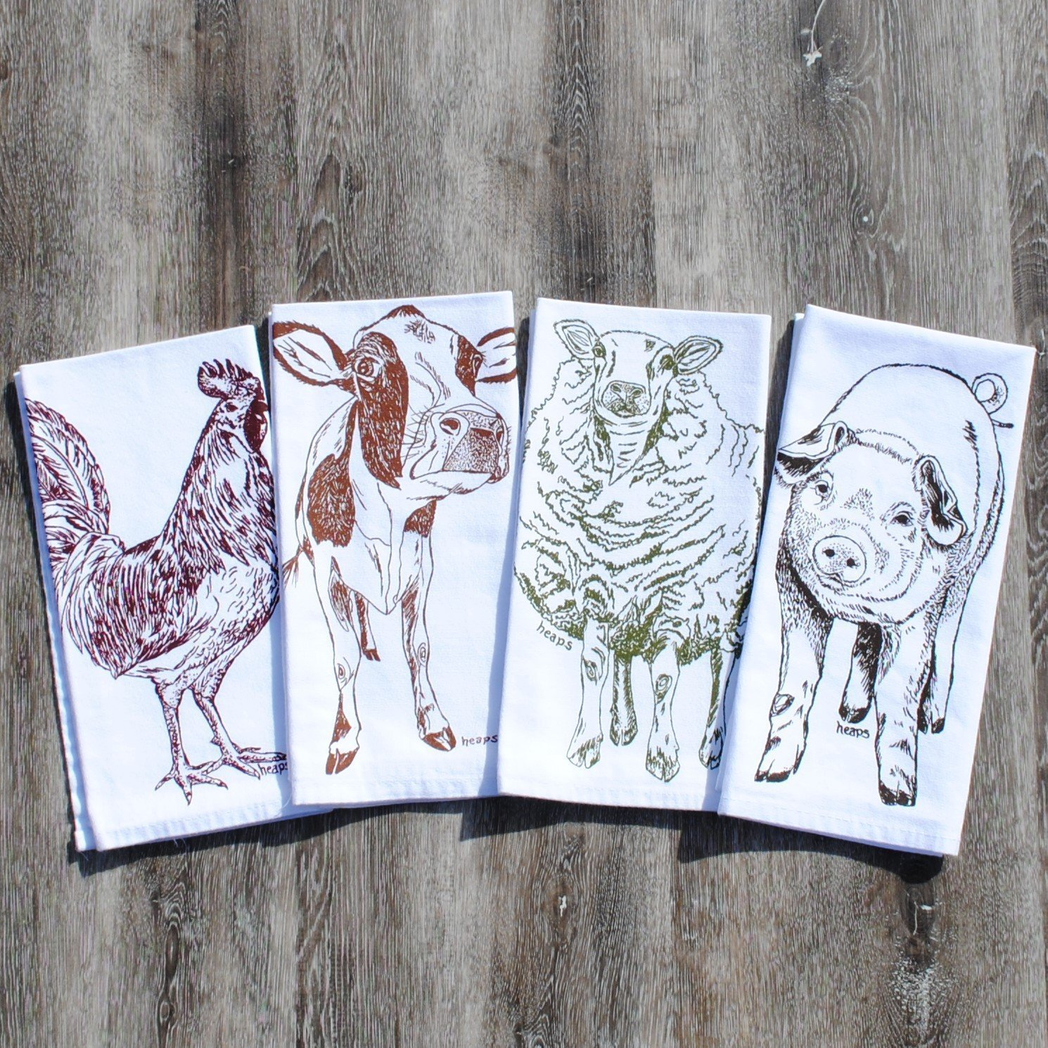 Cloth Napkins Farm Animals Set of 4 Cotton Kitchen Table Linens