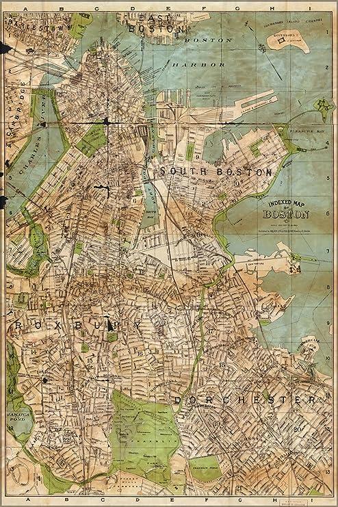 Antique Boston Map.Amazon Com 24x36 Poster Map Of Boston 1900 Antique Reprint