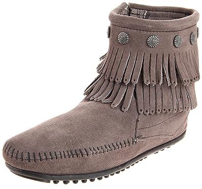 Minnetonka Double Fringe Side Zip Boot, Damen Kurzschaft Mokassin Boots,  Grau (Grey 1T 5de8e89c4c