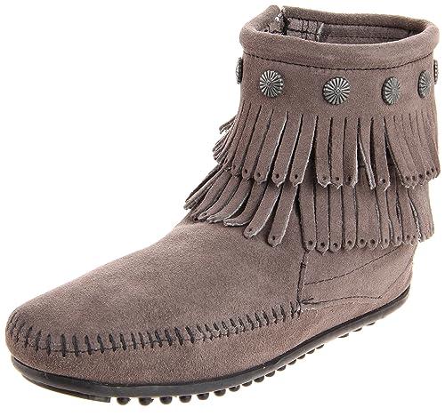 0076e8a958dcb Minnetonka Double Fringe Side Zip Boot, Womens Boots: Amazon.co.uk ...