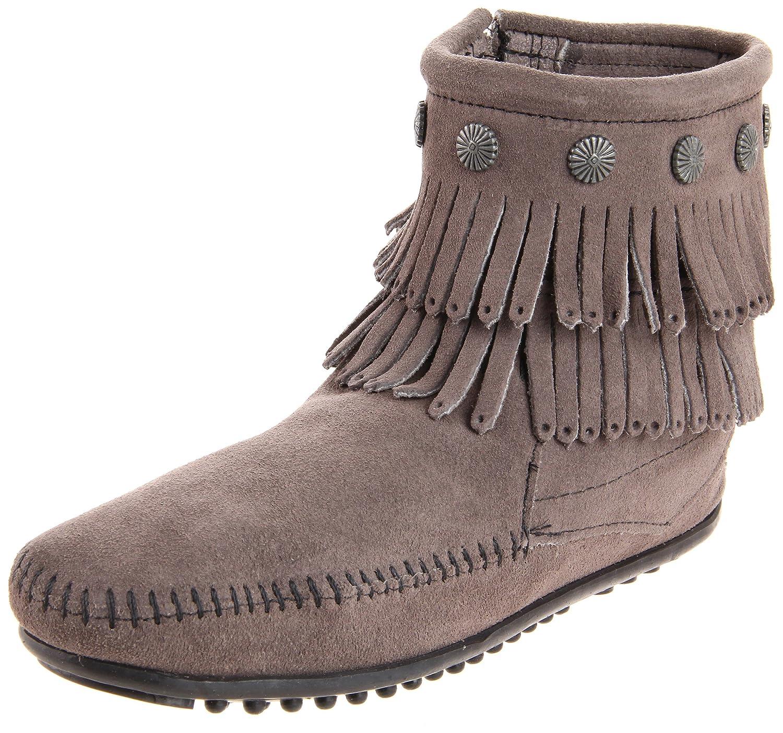 Minnetonka Women's Double-Fringe Side-Zip Boot B004UETY0O 5.5 B(M) US|Grey