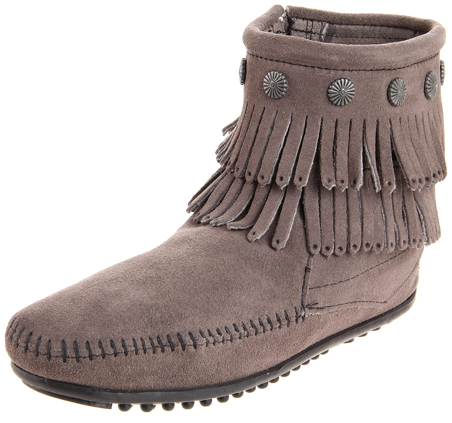 Minnetonka Double Fringe Side Zip Boot, Stivali Mocassino da donna Grigio Grau Grey))