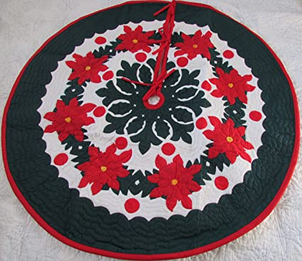 hawaiian quilt 100 hand quiltedhand appliqued christmas tree skirt 42 - Quilted Christmas Tree Skirt Pattern