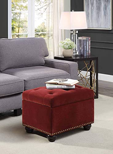 Convenience Concepts Designs4Comfort 5th Avenue Storage Ottoman, Merlot Velvet,