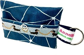 Kackbeutel blau Muster Hundekotbeutel Spender Hundetüte Leckerli Tasche aus Wachstuch Gassi gehen Waste Geschenk Hundebesitzer Poop Bag Chien