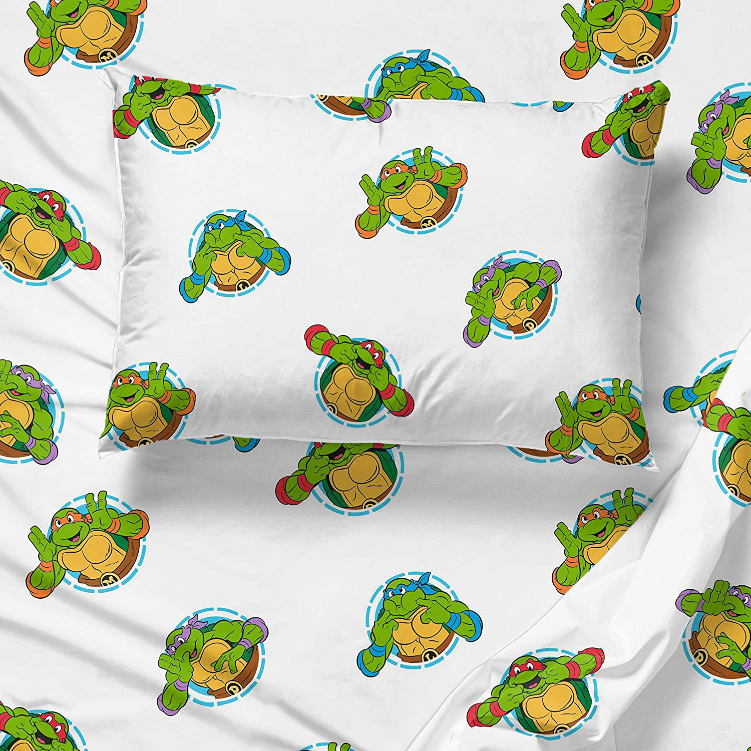 Official Nickelodeon Product Jay Franco Nickelodeon Teenage Mutant Ninja Turtles Silly Green Full Sheet Set Fade Resistant Microfiber Sheets 4 Piece Set Super Soft and Cozy Kid/'s Bedding