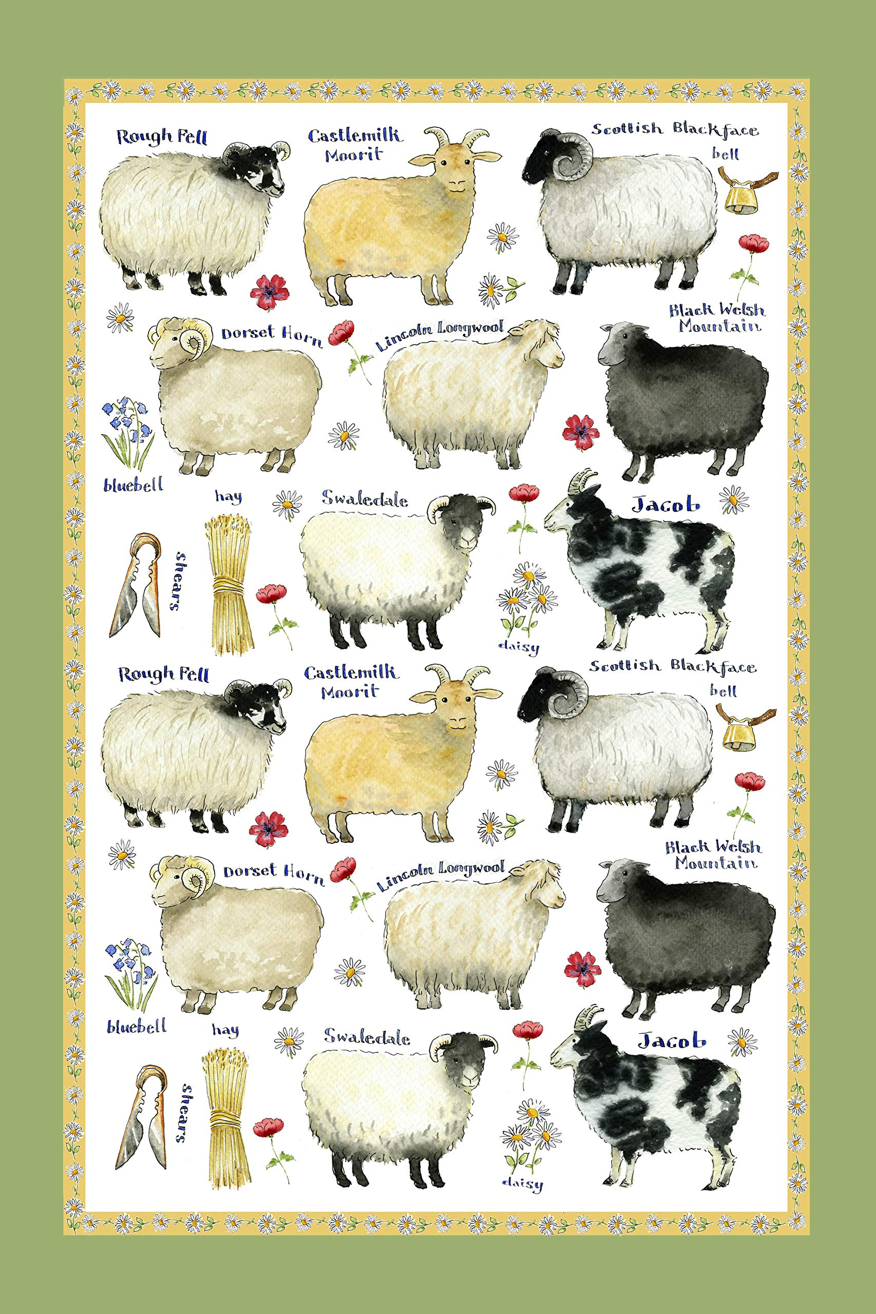 Samuel Lamont Linen Union Tea Towel Sheep Breeds Print
