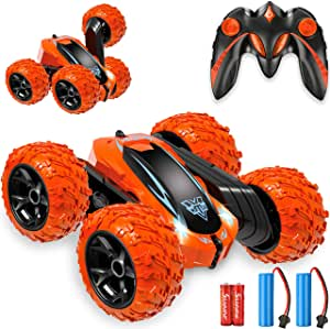 4WD 2.4Ghz Double Sided 360/° Flips Rotating Vehicles Bukm RC Stunt Cars Toy Remote Control Car Off Road High Speed Racing Truck for 3 4 5 6 7 8-12 Year Old Kids Boys Girls Christmas Birthday Gift
