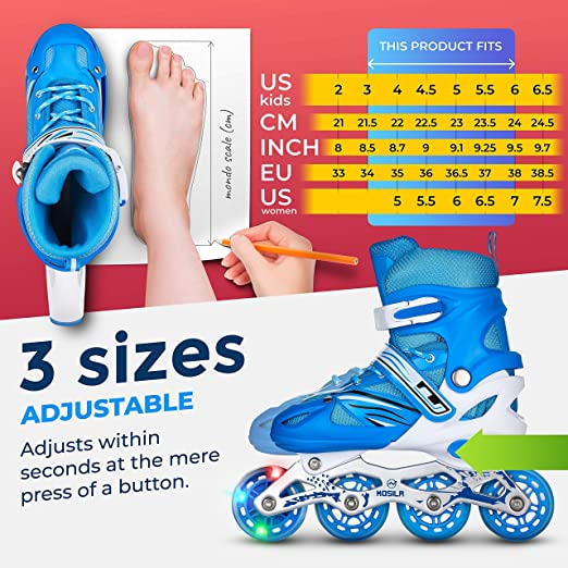 XWB Roller Skate Adjustable for Children from 2 to 6 Year Old