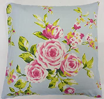 Amazon shabby pink blue rose floral cotton chic cushion cover amazon shabby pink blue rose floral cotton chic cushion cover 18 to match curtainsdrapesduvet other products everything else mightylinksfo