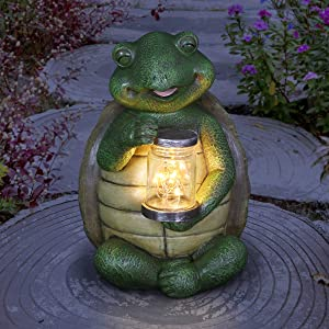 """Solar TurtleStatue w/Light-Up Firefly In Jar– CuteTurtle Statue w/ Solar Powered LED String Lights –Durable &Weather-Resistant Turtle Statue for Garden & Home Décor – 6.5"""" L x 7"""" W x 9.5""""H"""