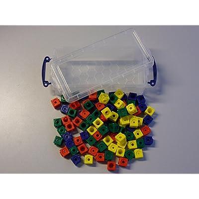 100à douille Dés dans la coffret pratique, à emboîter 1,7x 1,7cm 4-farbig (rot, gelb, grün, blau)