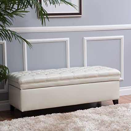 Magnificent Laguna Tufted Fabric Rectangular Storage Ottoman Modern Bench For Home Organization Ivory Machost Co Dining Chair Design Ideas Machostcouk