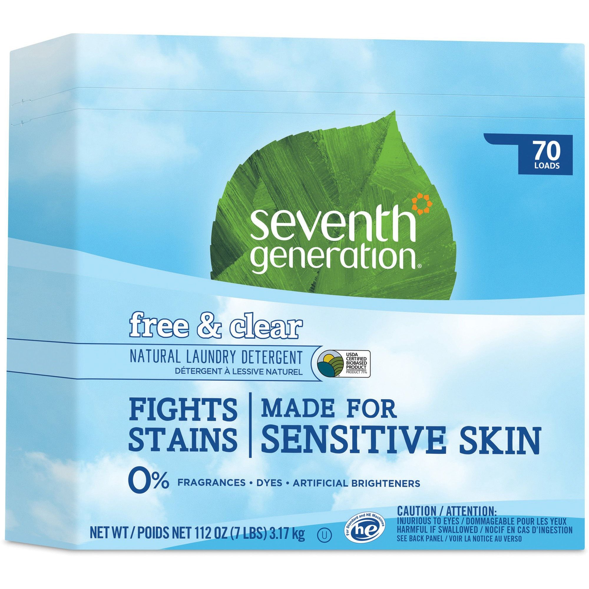 Seventh Generation Natural Powder Laundry Detergent, Free & Clear, 70 Loads, 112 oz Box, 4/CT