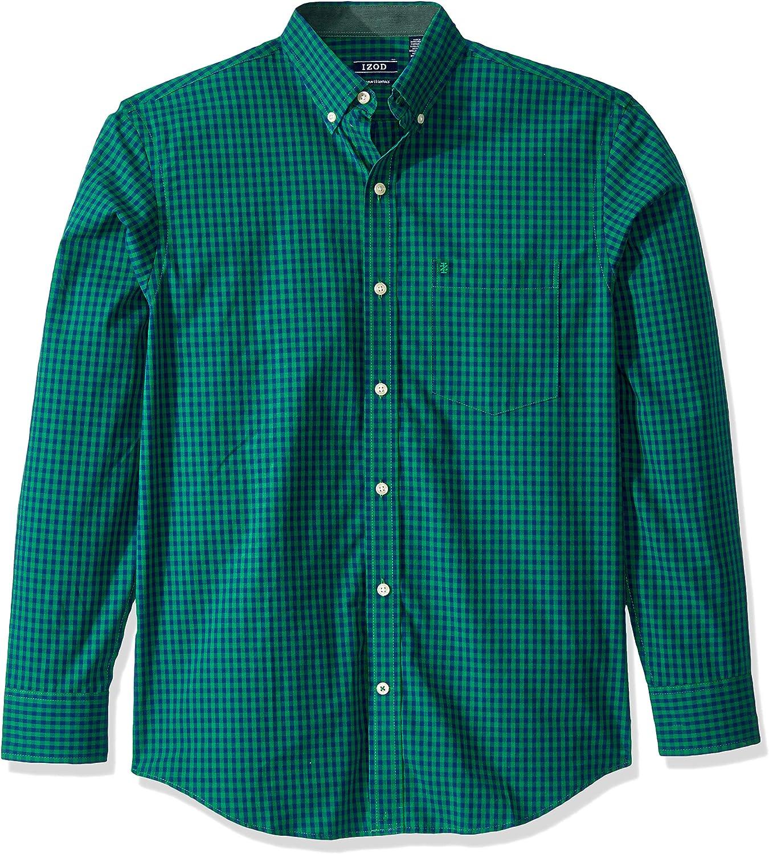 IZOD Mens Button Down Long Sleeve Stretch Performance Gingham Shirt