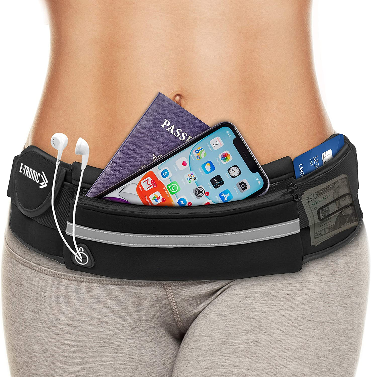 E Tronic Edge Waist Packs: Best Comfortable Unisex Running Belts That Fit All Waist Sizes & All Phone Models for Running, Hiking, Workouts, Cycling, Travelling Money Belt & More