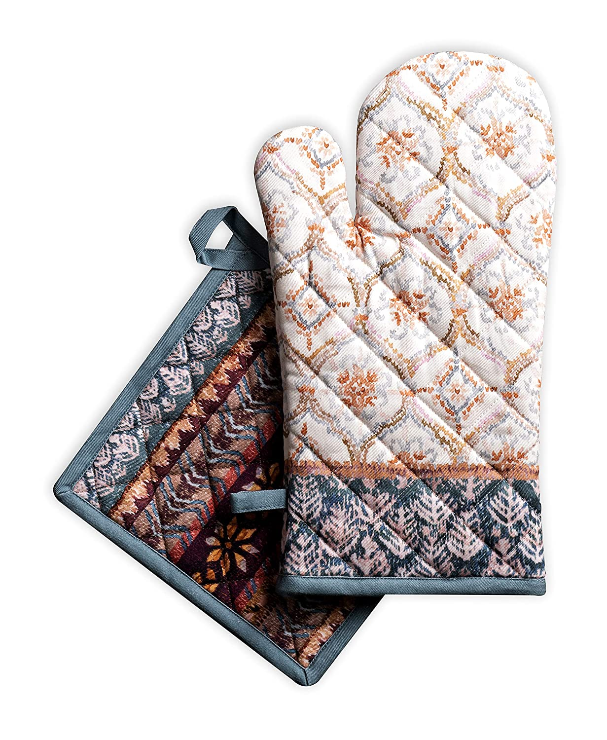 Maison d' Hermine Fair Isle 100% Cotton Set of Oven Mitt (7.5 Inch by 13 Inch) and Pot Holder (8 Inch by 8 Inch). Perfect for Thanksgiving and Christmas