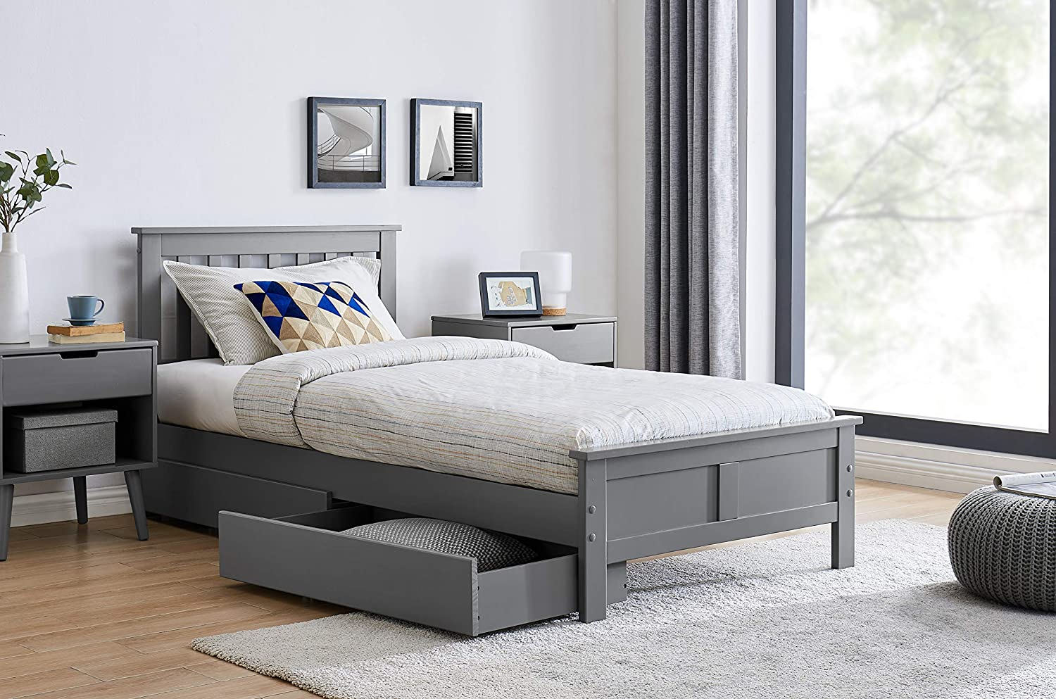 Furniturebox UK Azure Grey Wooden Solid Pine Quality Single Double King Bed Frame And Sprung Mattress Double Bed + Mattress