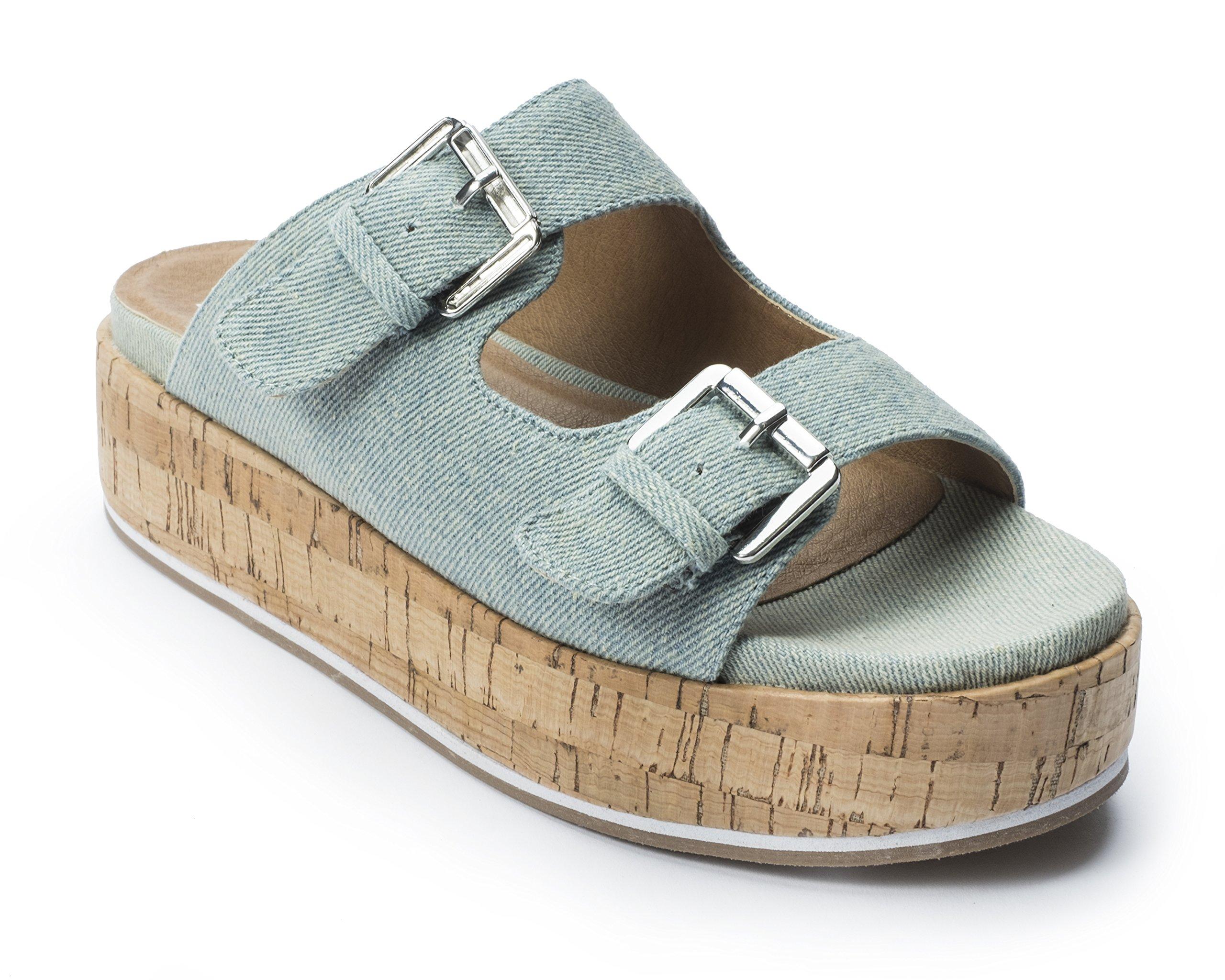 Jane and the Shoe Women's Jordan Light Blue 2 Buckle Platform Sandal Size 10
