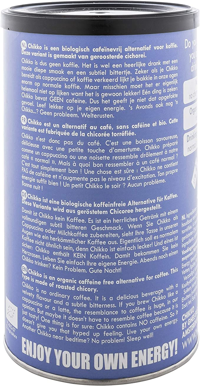 Chikko Not Coffee 100% Roasted Organic Chicory 150g: Amazon.es ...