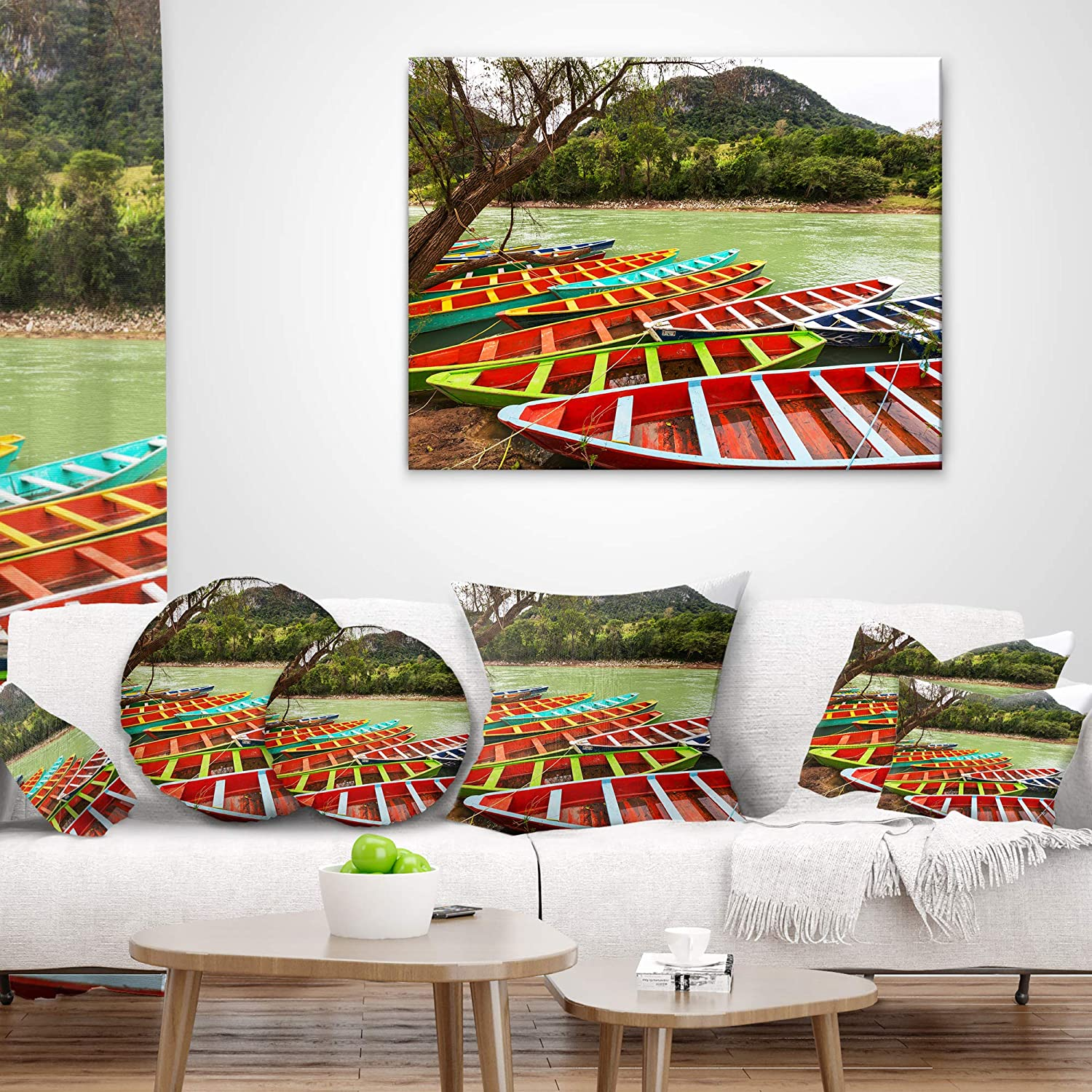 x 18 in Designart CU12683-18-18 Colorful Boats in Mexico Landscape Printed Cushion Cover for Living Room Sofa Throw Pillow 18 in Insert Side in
