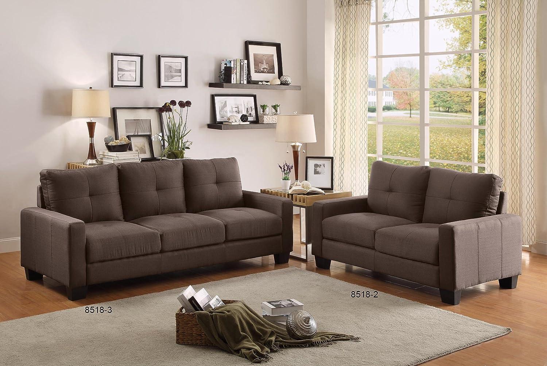 Amazoncom Homelegance Upholstered Sofa Brownish Grey - Tufted upholstered sofa