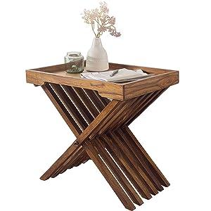 Wohnling Beistelltisch Massivholz Sheesham Design Klapptisch Serviertablett und Tisch-Gestell klappbar Landhaus-Stil Mesa Auxiliar, Madera, 60 x 40 x 57 cm