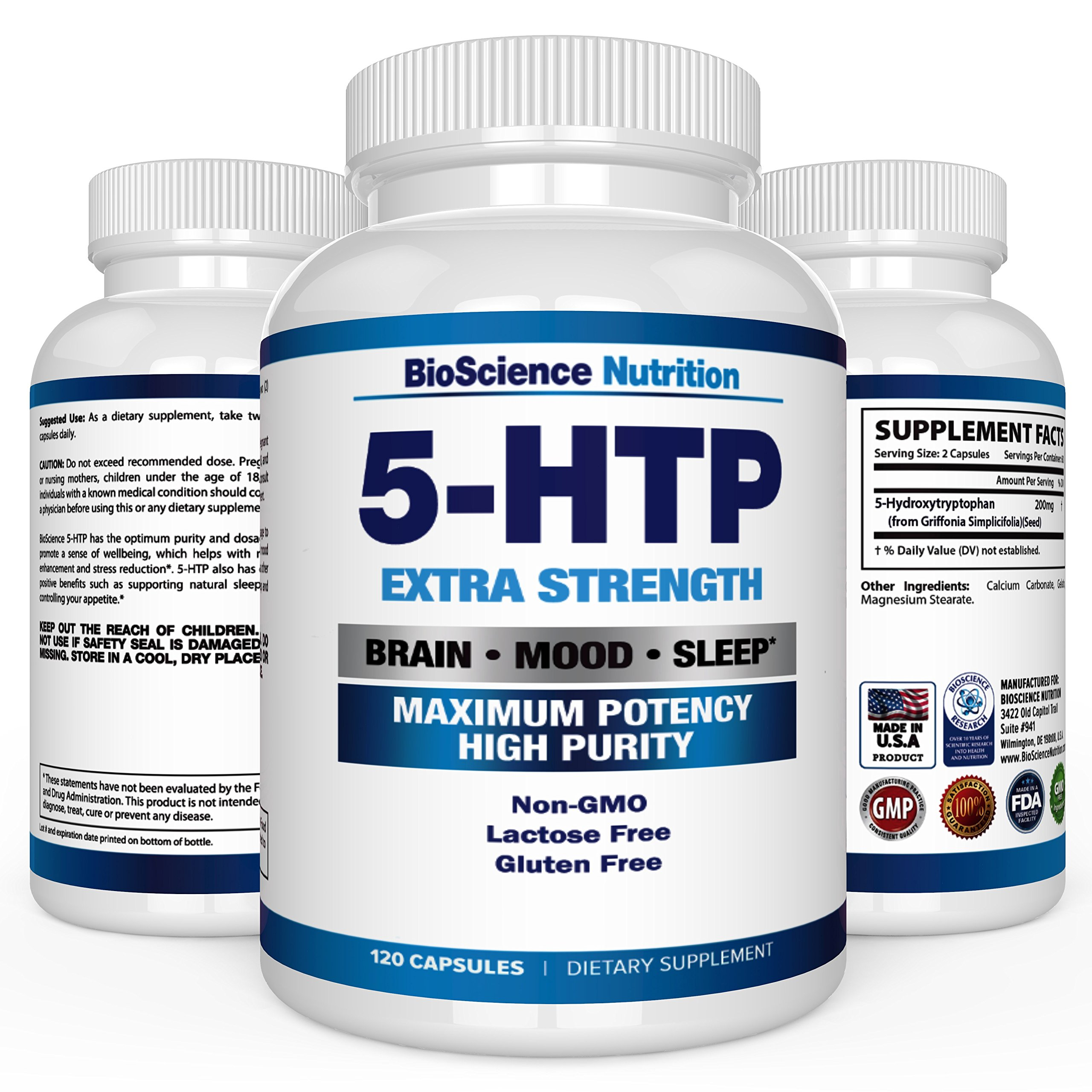 5-HTP 200 mg Supplement - 120 Capsules - BioScience Nutrition