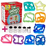 Fun Sandwich and Bread Cutter Shapes for kids - 9 Crust & Cookie Cutters - PLUS 5 FREE Mini Heart & Flower Stainless Steel Vegetable & Fruit Stamp Set - Loved by both Boys & Girls alike!