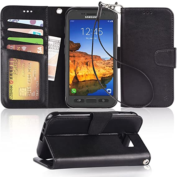 release date 9cac4 f2b66 Amazon.com: Arae Samsung Galaxy S7 Active Wallet case with Kickstand ...
