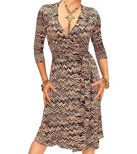 c217699def40 Blue Banana Women s Zig Zag Print Wrap Dress at Amazon Women s ...