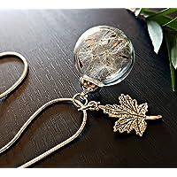 Ciondolo foglia d'acero Catena ARGENTO STERLING collana di tarassaco e confezione regalo - Ciondolo antico collana di Dente di leone gioielli unici per le donne