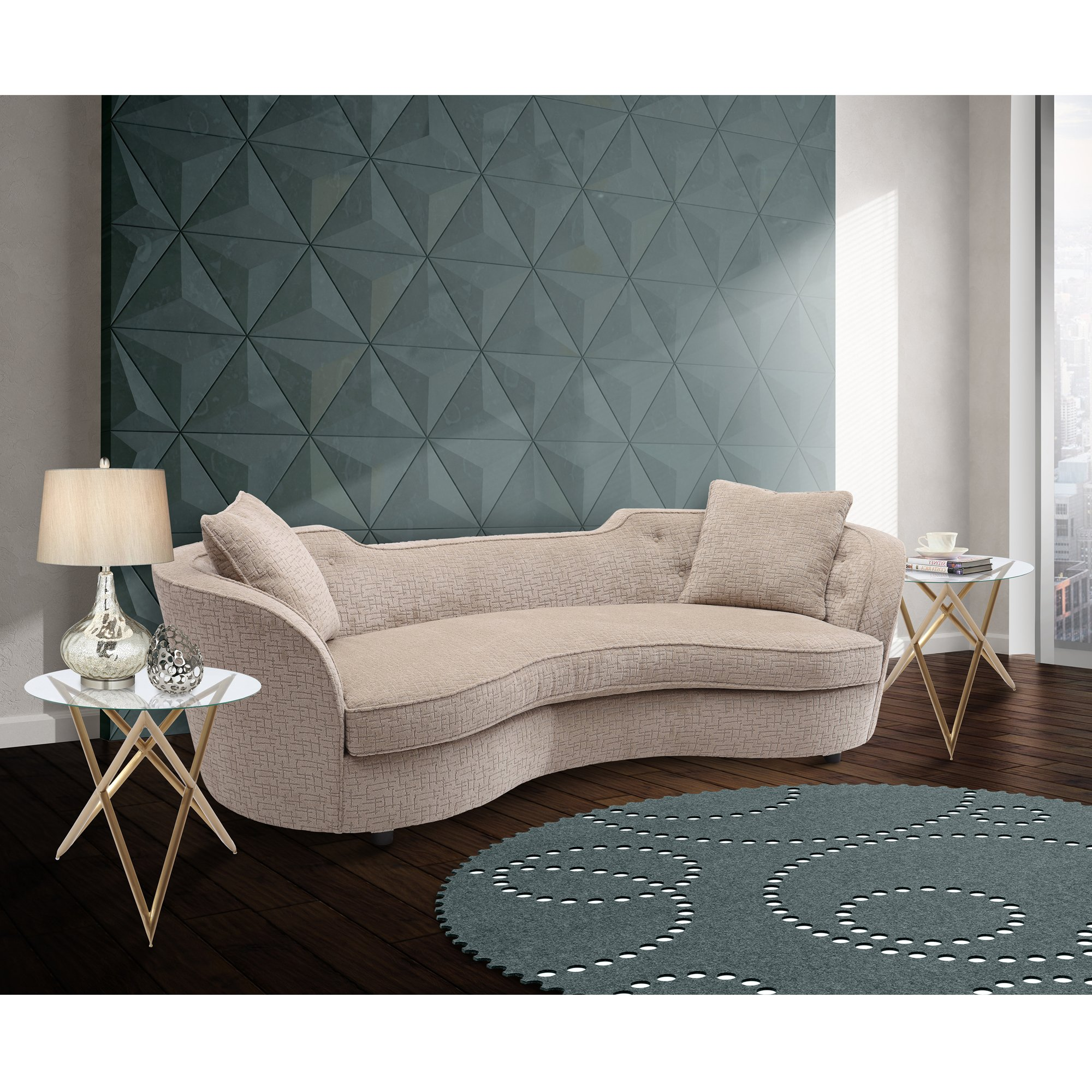 Armen Living Palisade Sofa in Sand Fabric and Black Wood Finish by Armen Living