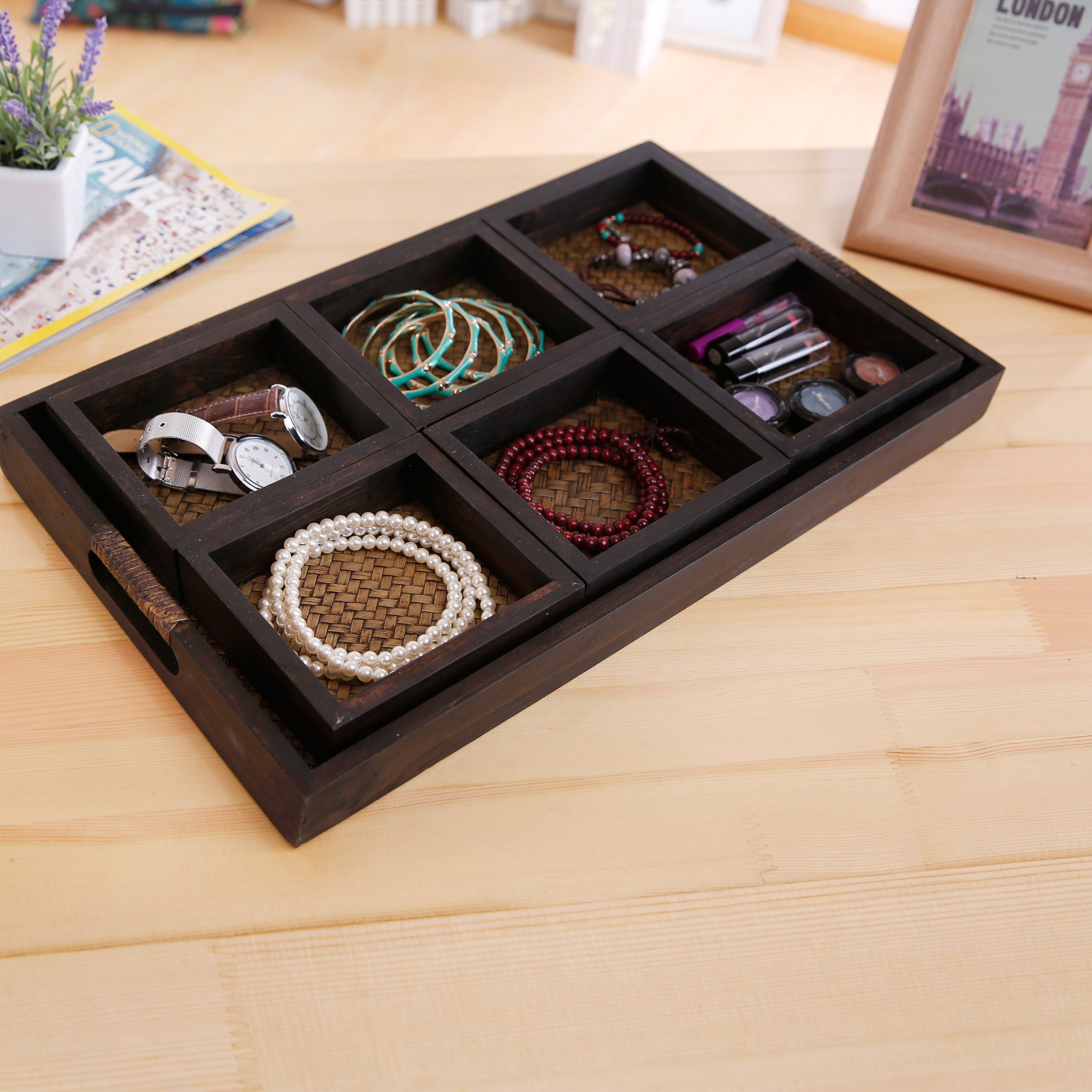 MyGift 7 Piece Flocked Nesting Mango Wood and Woven Rattan Jewelry Organizer Display Trays by MyGift (Image #3)