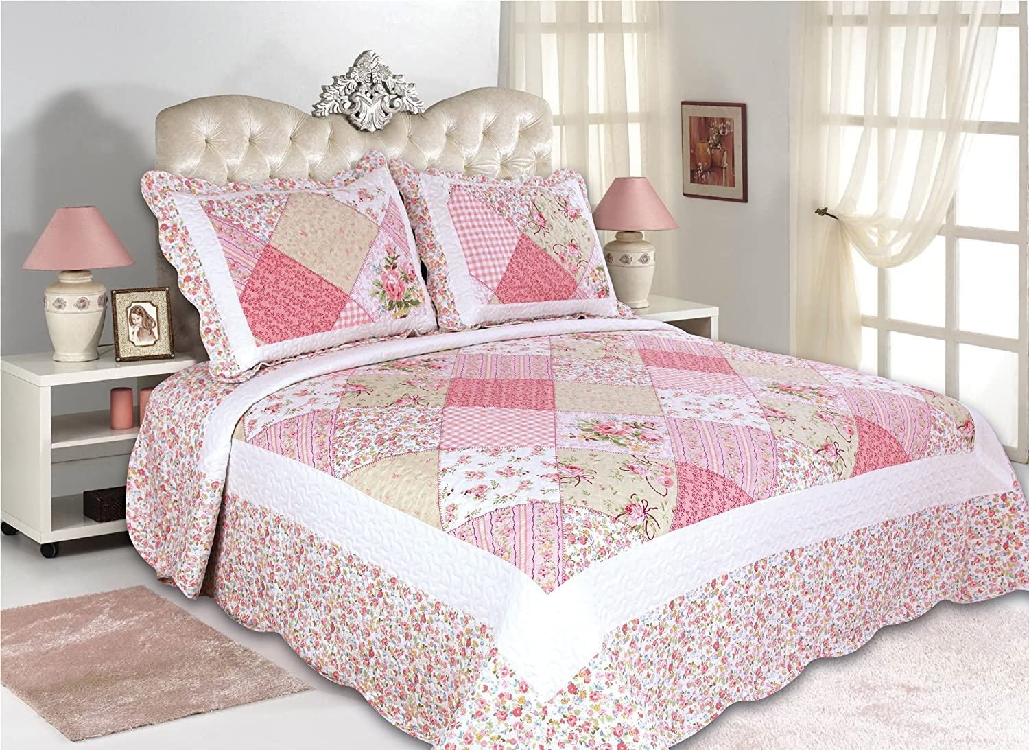 ALL FOR YOU 3-Piece Reversible Bedspread/Quilt Set-King Size-Pink Patchwork Prints