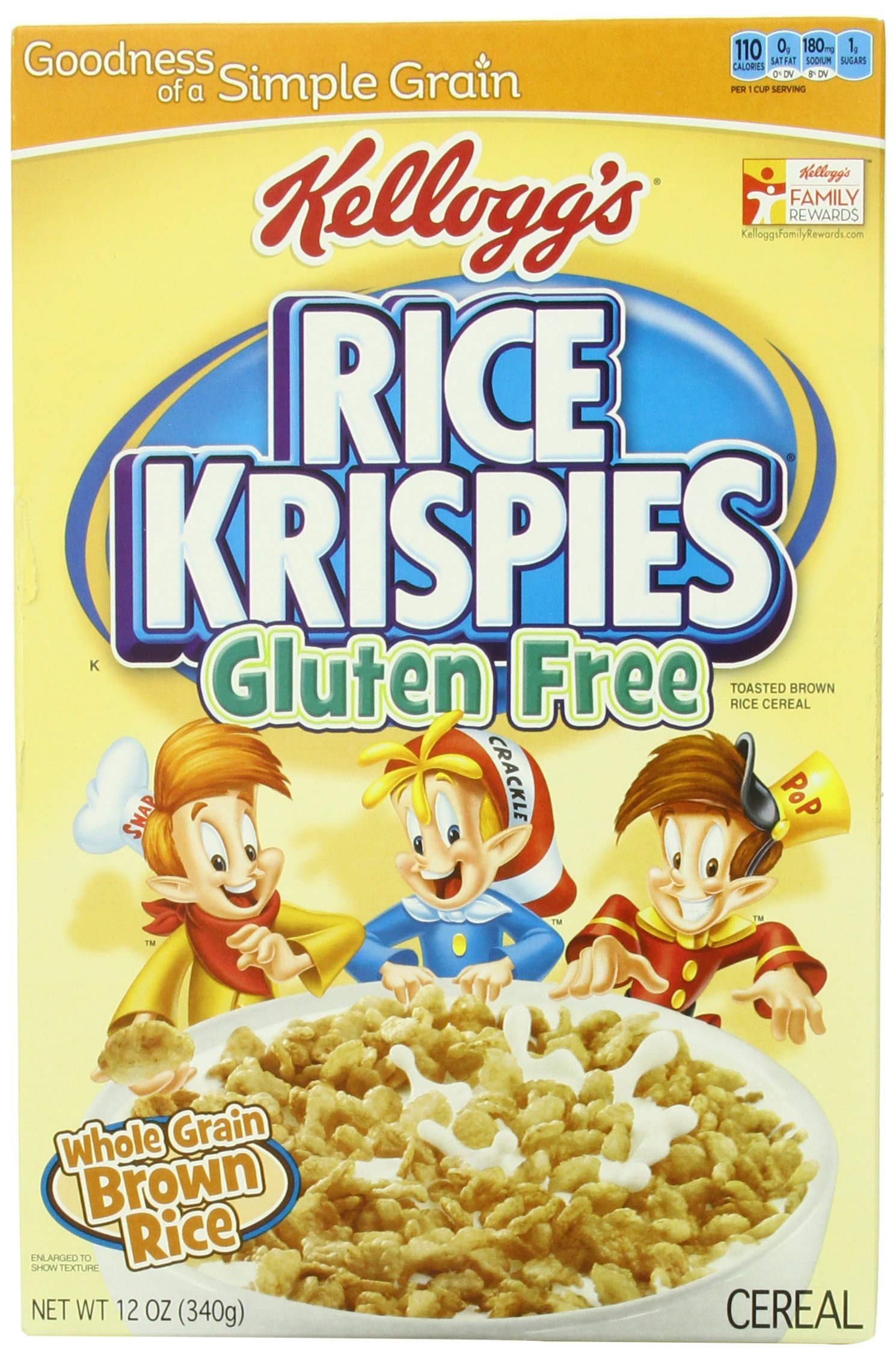 Kellogg's Rice Krispies Gluten Free Cereal, Whole Grain Brown Rice, 12-Ounce Boxes (Pack of 4) (Discontinued By Manufacturer) by Kellogg's