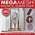 """Magnetic Screen Door Heavy Duty Reinforced Mesh & FULL FRAME VELCRO Fits Doors Up to 34""""x82"""" MegaMesh Comes With a 12 Month Warranty"""