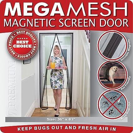 Superior Magnetic Screen Door Heavy Duty Reinforced Mesh U0026 FULL FRAME VELCRO Fits  Doors Up To 34u0026quot