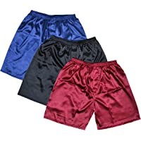TONY & CANDICE Men's Satin Boxer Shorts Combo Pack Underwear, (3-Pack)