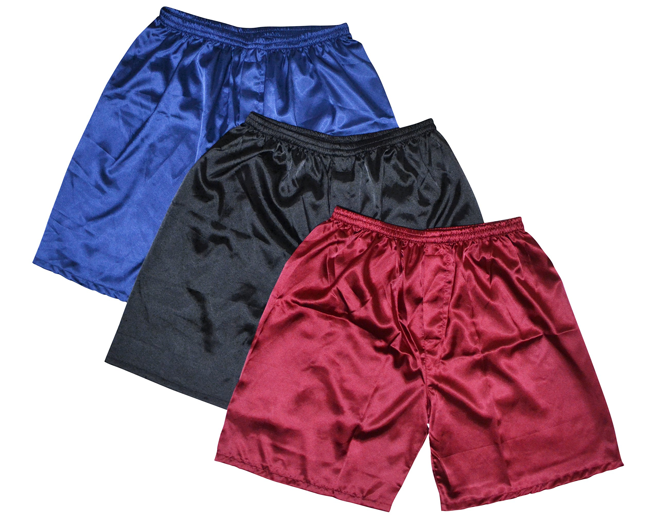 TONY & CANDICE Men's Satin Boxers Shorts Combo Pack Underwear, (3-Pack) (L)