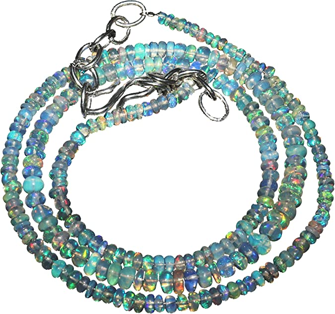 37Ct 3X8mm Ethiopian Opal Round Beads Necklace 14inch Natural Ethiopian Opal Beads Necklace AAAQuality Roundel Beads Multi Fire Beads K394