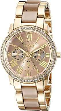 XOXO Womens Analog Watch with Gold-Tone Case, Crystal-Inset Bezel, Fold