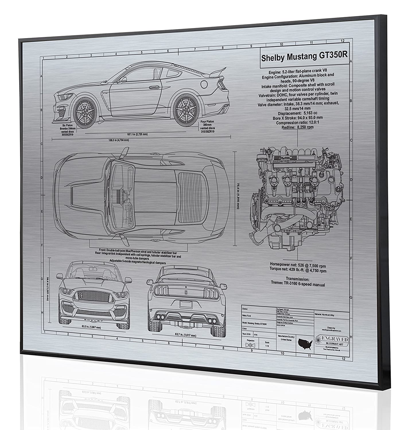 Shelby Mustang Gt350r Blueprint Artwork Laser Marked Toyota 4 0 Engine Diagram Personalized The Perfect Ford Gifts Handmade