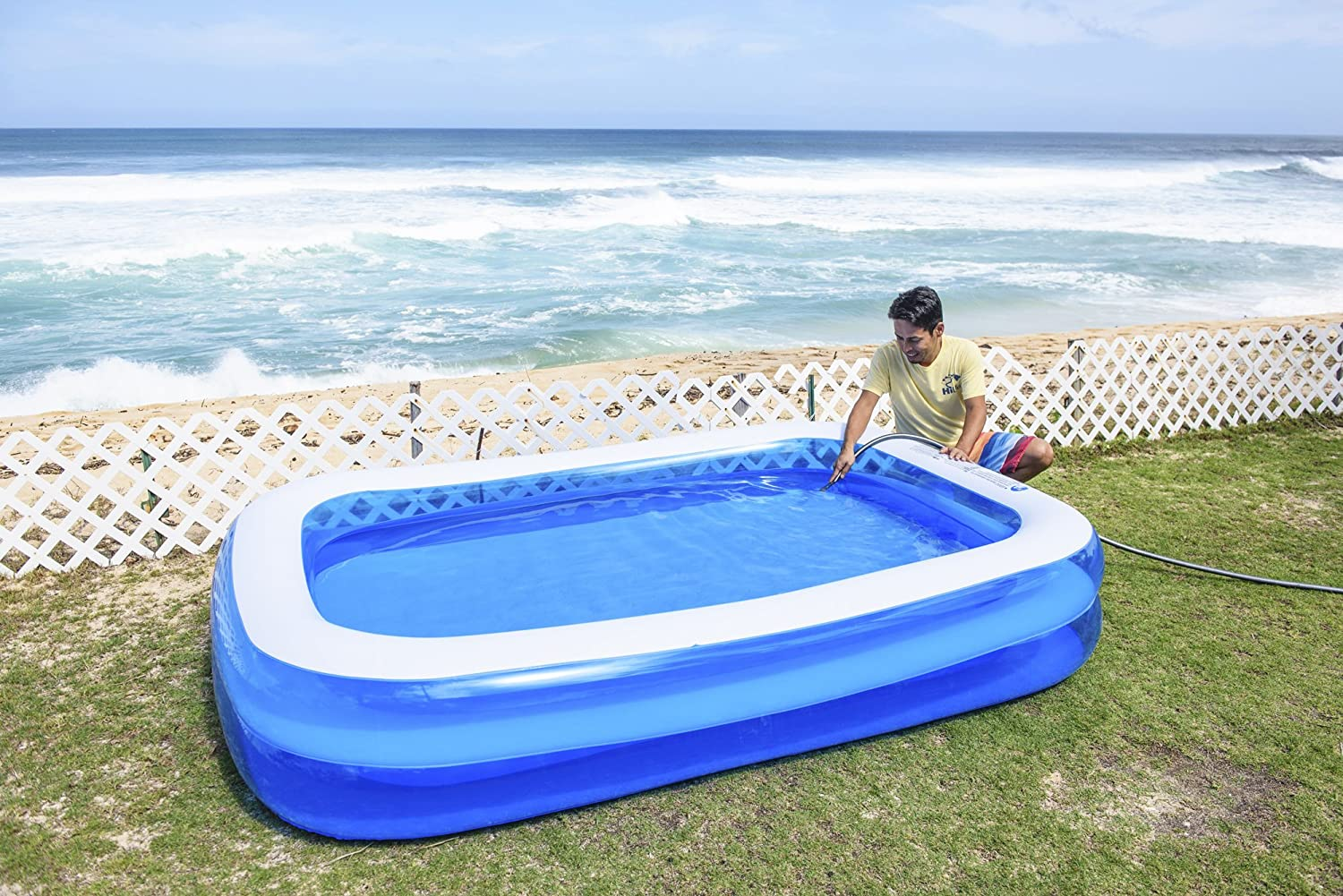 Blue 103 x 69 x 20 Jilong Rectangular Family Inflatable Pool for Ages 6+